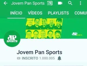 "O Print da Conta ""Jovem Pan Sports"" no YouTube feito pelo Fausto Favara!"